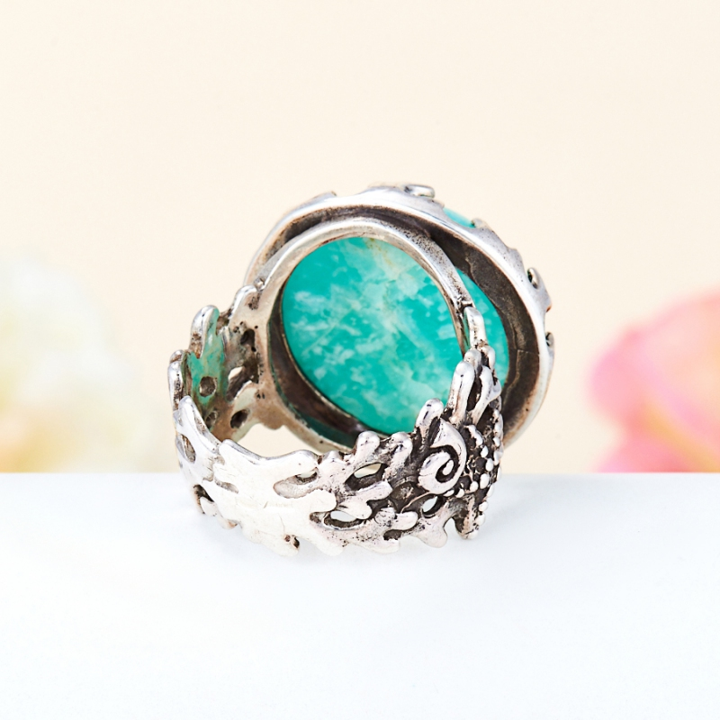 [del] Кольцо амазонит Перу (серебро 925 пр.) размер 14,5
