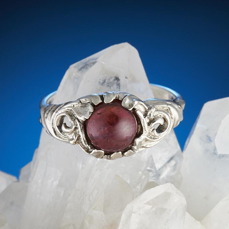 Кольцо турмалин розовый (рубеллит)  (серебро 925 пр.) размер 17 кабошон турмалин розовый рубеллит 5 7 мм