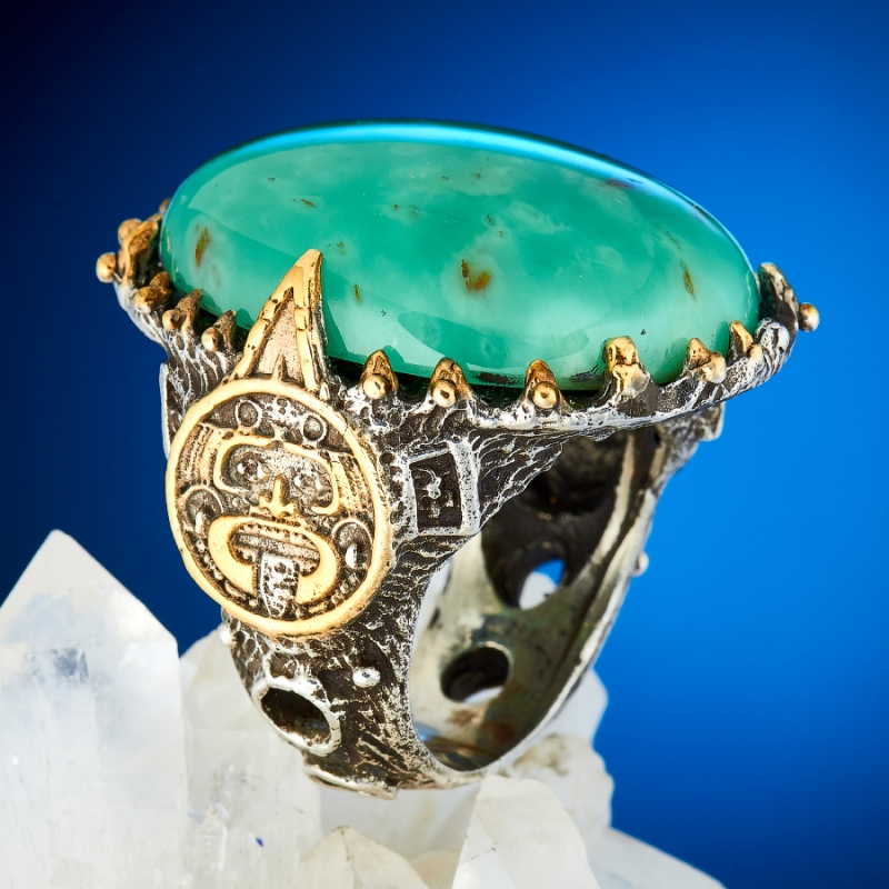 Кольцо хризопраз  (серебро 925 пр., позолота) размер 18,5