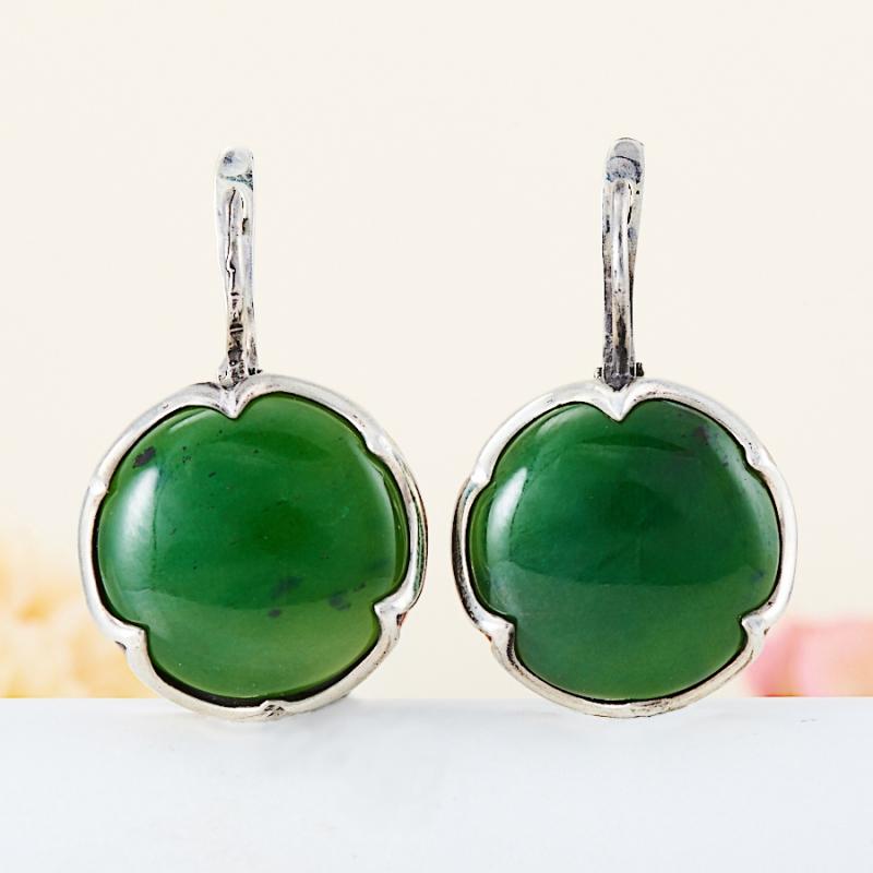 Серьги нефрит зеленый (серебро 925 пр.) серьги нефрит серебро 925 пр