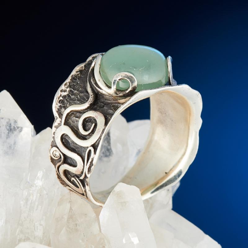 [del] Кольцо аквамарин Россия (серебро 925 пр.) размер 16
