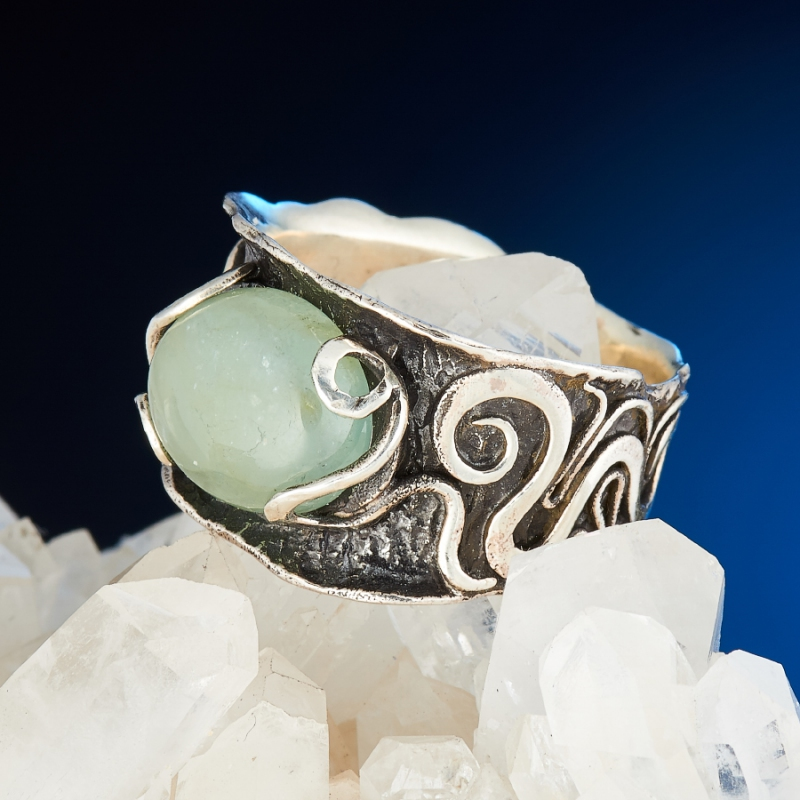 [del] Кольцо аквамарин Россия (серебро 925 пр.) размер 17,5