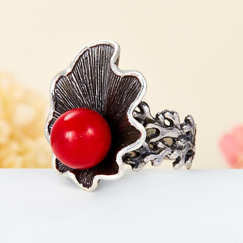 [del] Кольцо коралл красный Индонезия (серебро 925 пр.) размер 15,5