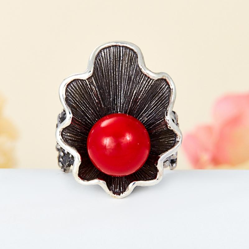 [del] Кольцо коралл красный Индонезия (серебро 925 пр.) размер 23