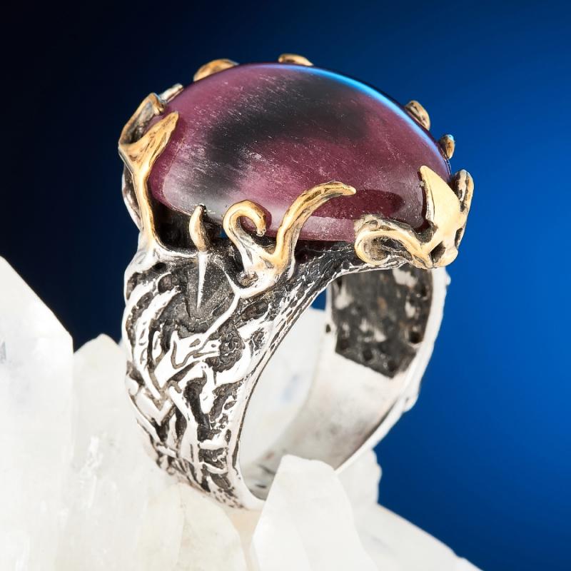 Кольцо турмалин розовый (рубеллит) с эффектом кошачьего глаза  (серебро 925 пр., позолота) размер 18