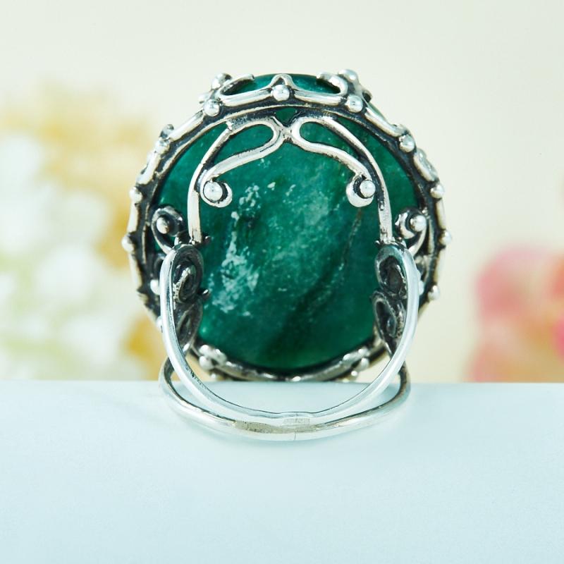 [del] Кольцо авантюрин зеленый Россия (серебро 925 пр.) размер 14