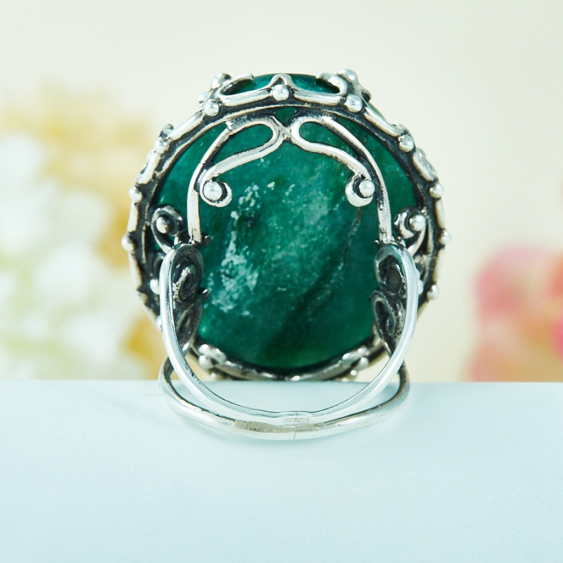 [del] Кольцо авантюрин зеленый Россия (серебро 925 пр.) размер 17,5