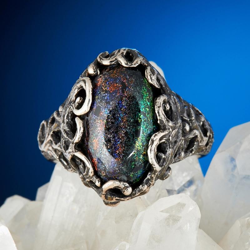 Кольцо опал благородный черный  (серебро 925 пр.) размер 19