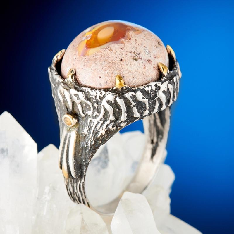 Кольцо опал благородный огненный  (серебро 925 пр., позолота) размер 18,5