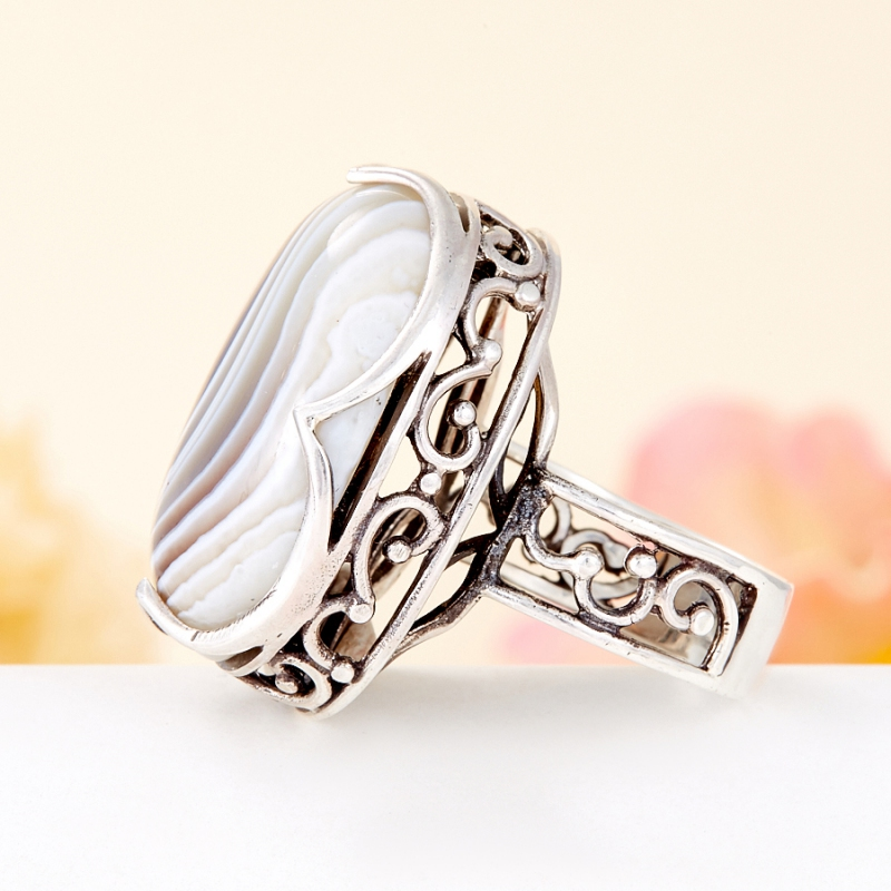 [del] Кольцо агат серый Ботсвана (серебро 925 пр.) размер 16