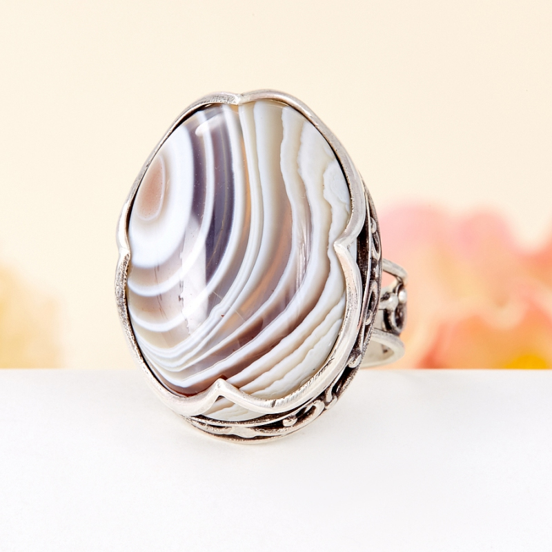 [del] Кольцо агат серый Ботсвана (серебро 925 пр.) размер 18