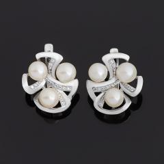 Серьги жемчуг белый Гонконг (серебро 925 пр.)