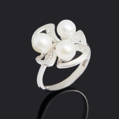 Кольцо жемчуг белый Гонконг (серебро 925 пр.) размер 16,5