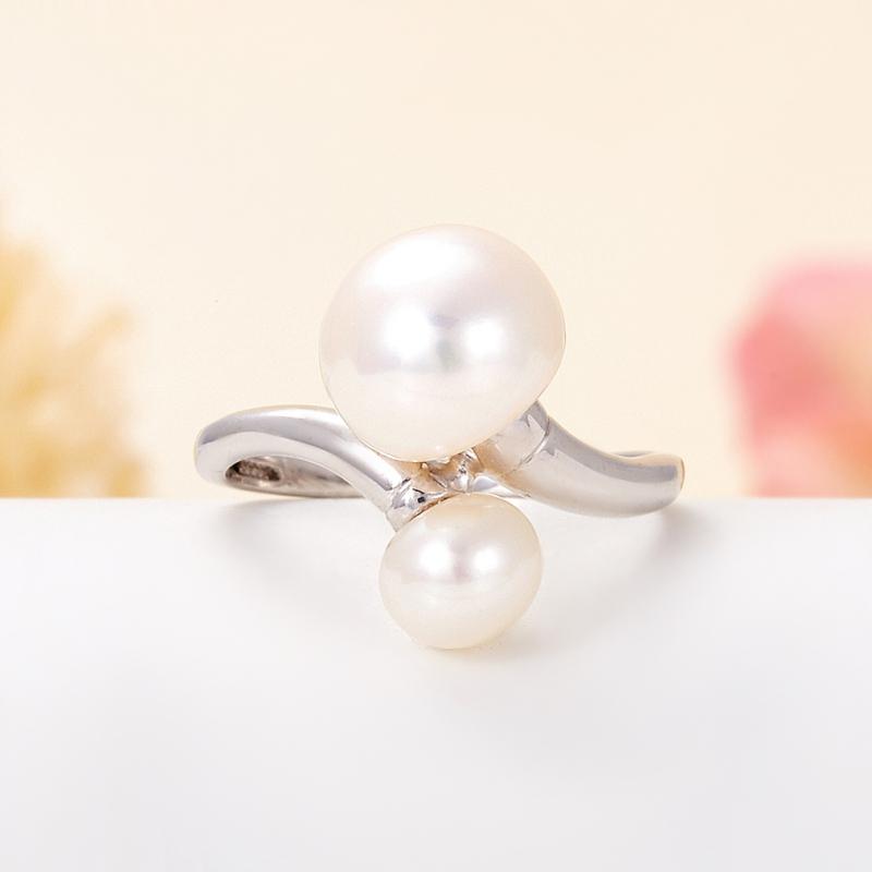 Кольцо жемчуг белый  (серебро 925 пр.) размер 18
