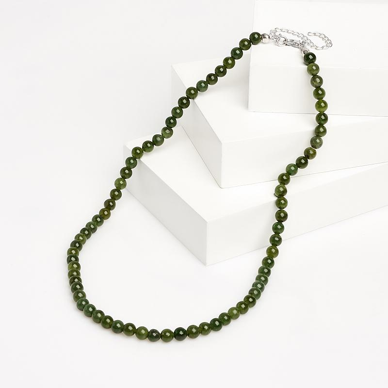 Бусы нефрит зеленый 6 мм 45 см (+7 см) (биж. сплав)