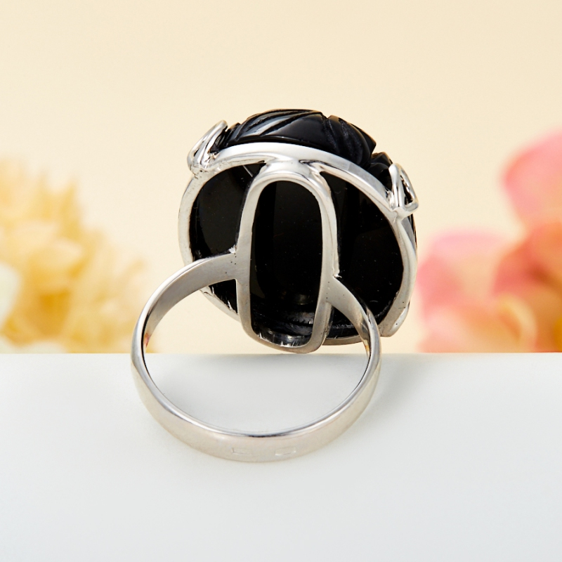[del] Кольцо агат черный Бразилия (серебро 925 пр.) размер 25