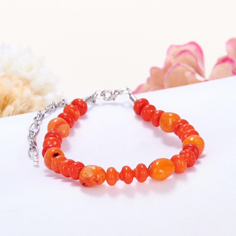 Браслет коралл оранжевый  17-21 cм
