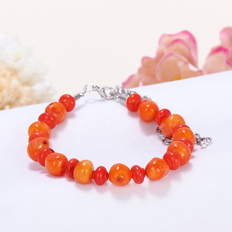 Браслет коралл оранжевый  16-21 cм