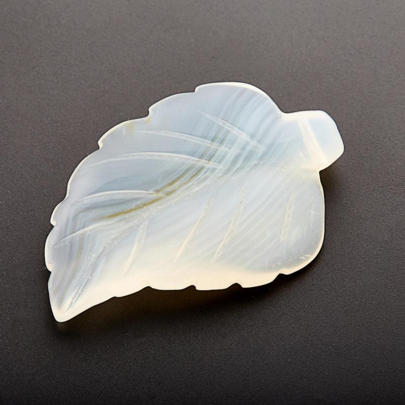 Пуговица лист агат серый 3,5-4 см