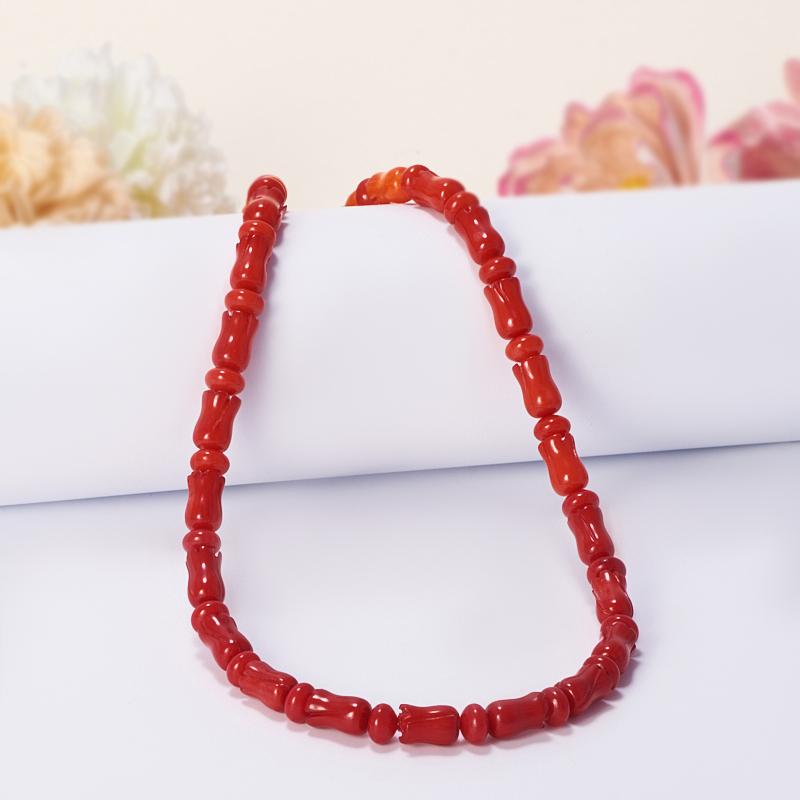 Бусы коралл красный, оранжевый, розовый  54-65 см