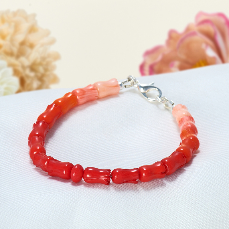 Браслет коралл красный,оранжевый, розовый  17 cм