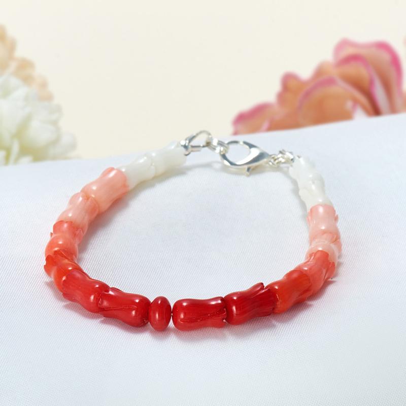 Браслет коралл белый, красный, оранжевый, розовый  16 cм