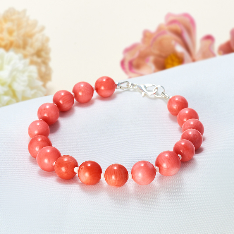 Браслет коралл оранжевый, розовый  16 cм