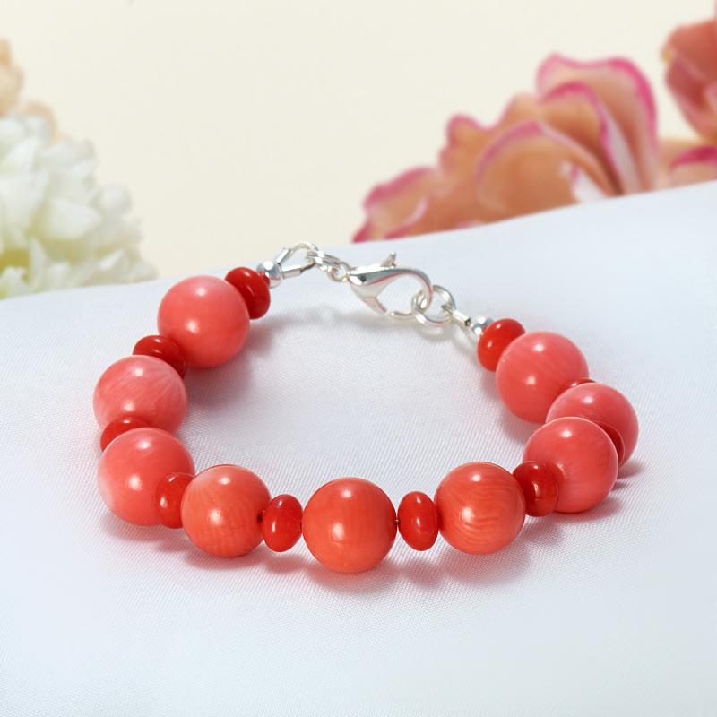 Браслет коралл красный, оранжевый, розовый  15 cм
