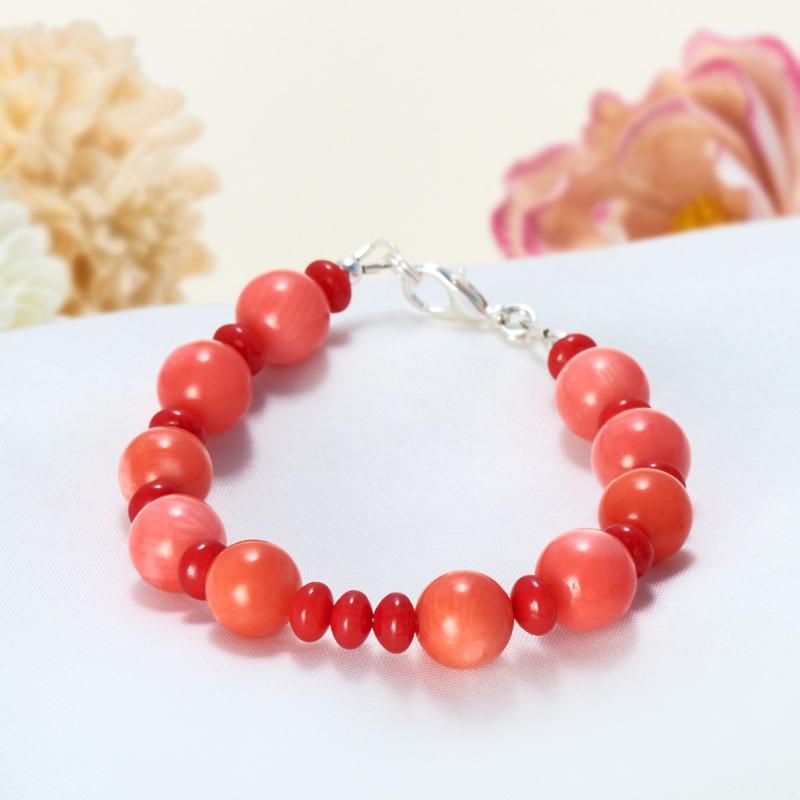 Браслет коралл красный, оранжевый, розовый 16 cм