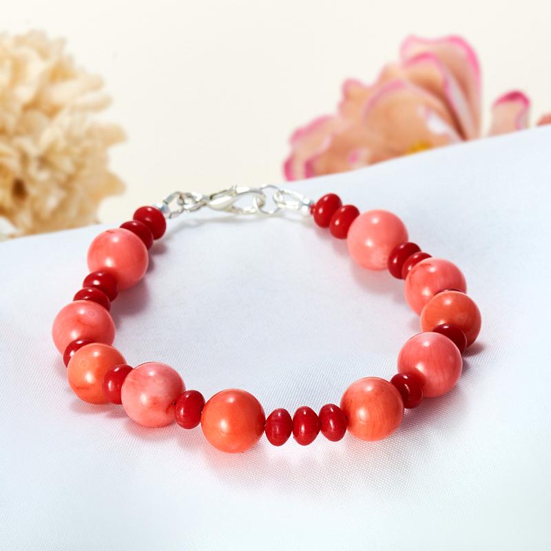 Браслет коралл красный, оранжевый, розовый  17 cм