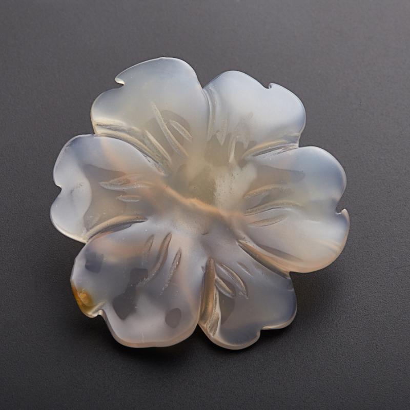 Пуговица цветок агат серый  3 см