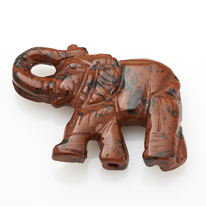 Пуговица слон обсидиан коричневый Армения 4 см