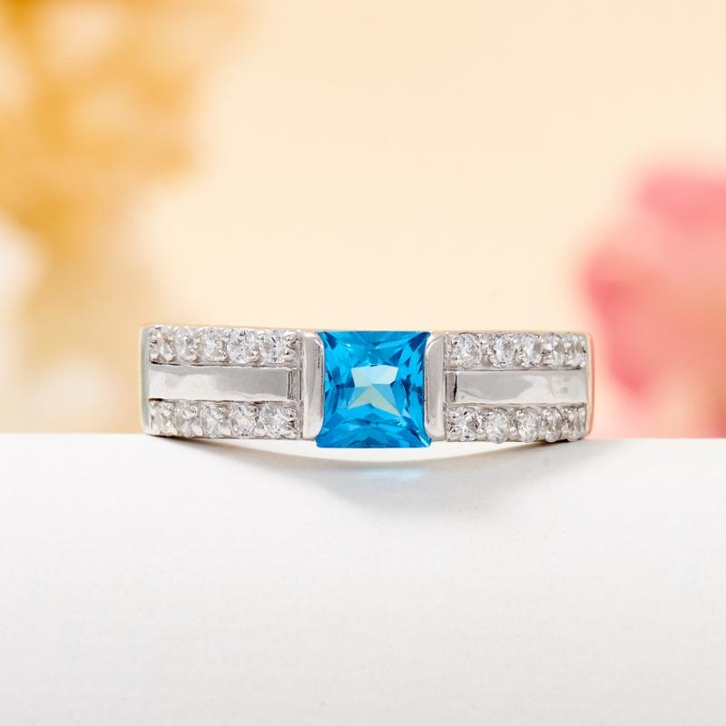Кольцо топаз голубой огранка (серебро 925 пр.) размер 17 кольцо коюз топаз кольцо т100619027