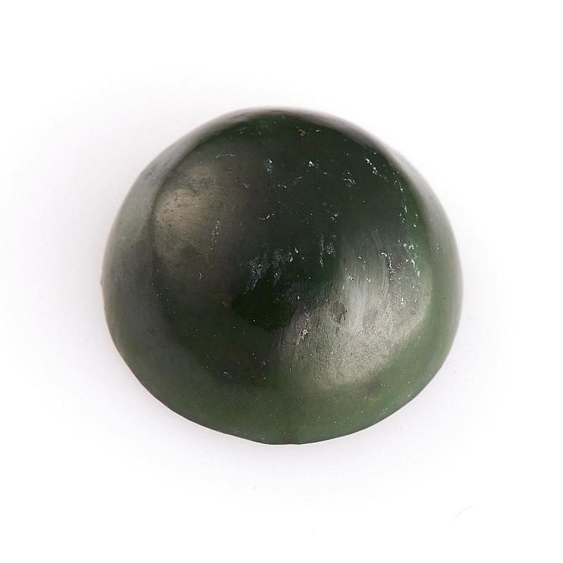 Кабошон нефрит зеленый  12 мм