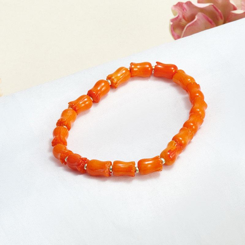 Браслет коралл оранжевый  16 cм