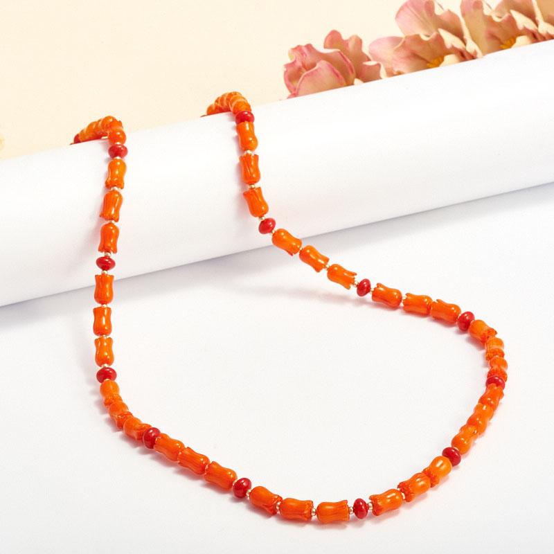 Бусы коралл оранжевый, красный  59-69 см