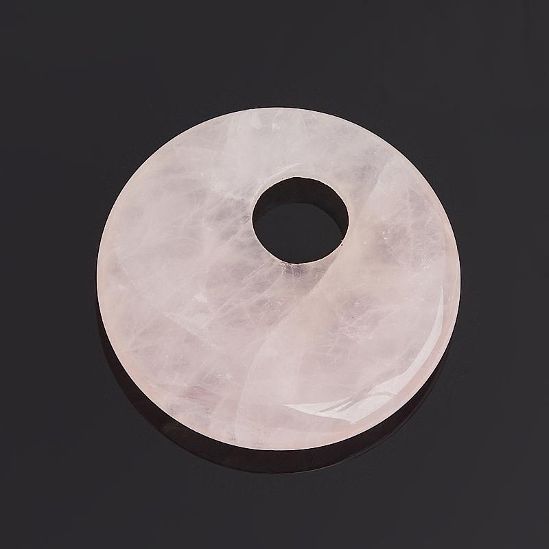 Кулон круг розовый кварц 3 см