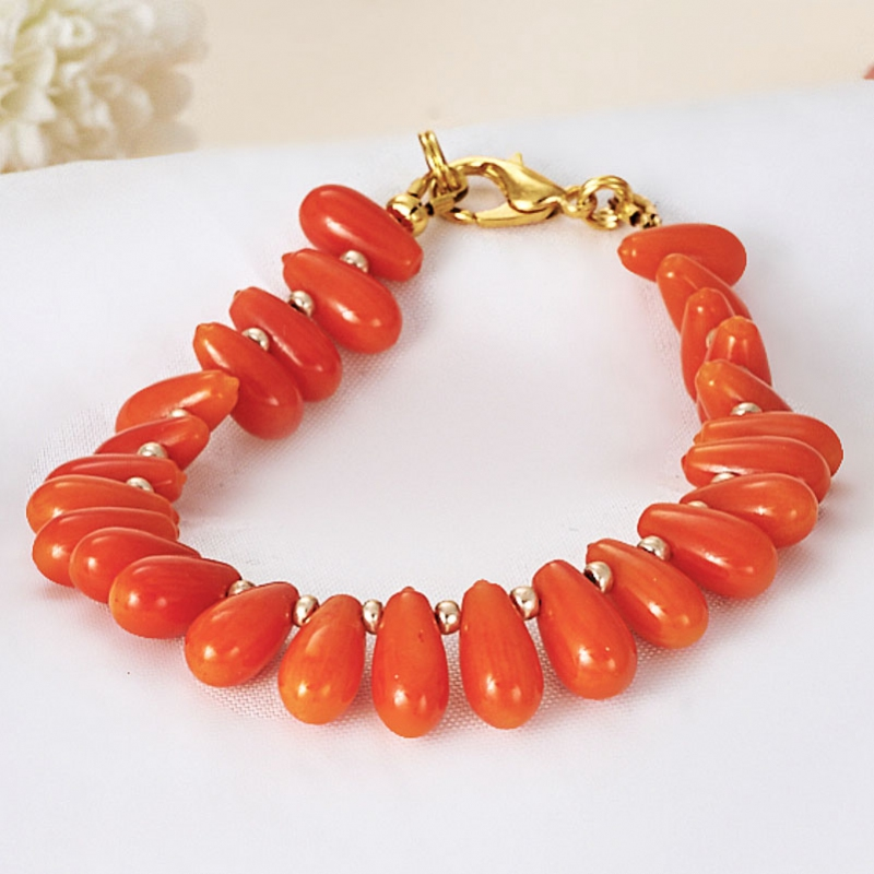Браслет коралл оранжевый  15 cм