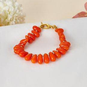 Браслет коралл оранжевый Индонезия 17 cм