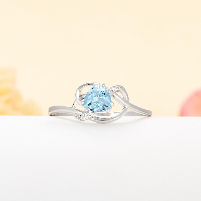 Кольцо топаз голубой  огранка (серебро 925 пр.) размер 19