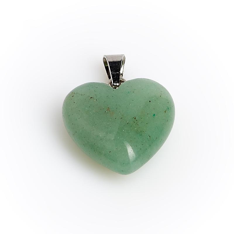 Кулон сердечко авантюрин зеленый Зимбабве 2 см