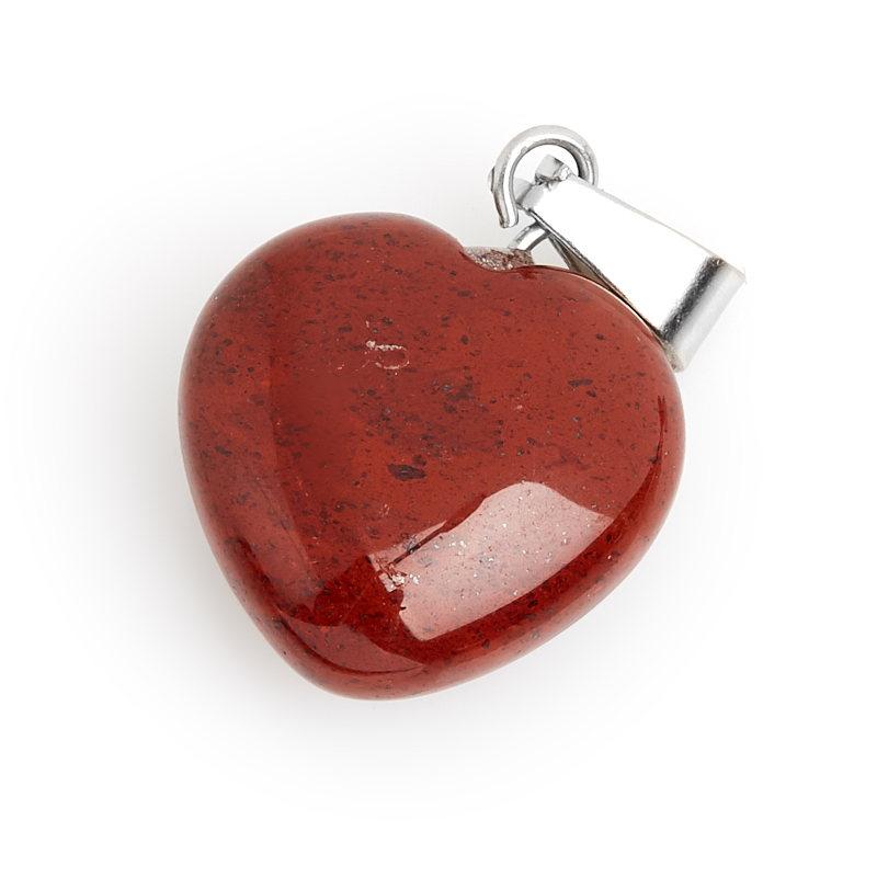 Кулон яшма красная ЮАР (биж. сплав) сердечко 2-2,5 см