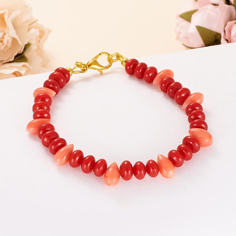 Браслет коралл красный, розовый  17 cм