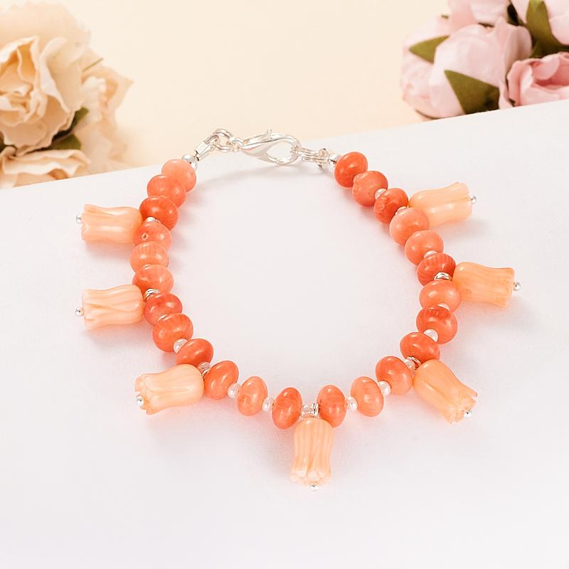 Браслет коралл розовый  18 cм