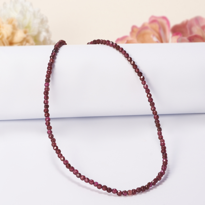 Бусы длинные гранат альмандин, розовый кварц огранка 3 мм 64-74 см