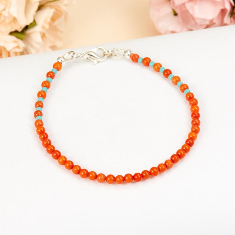 Браслет коралл оранжевый  3 мм 17 cм