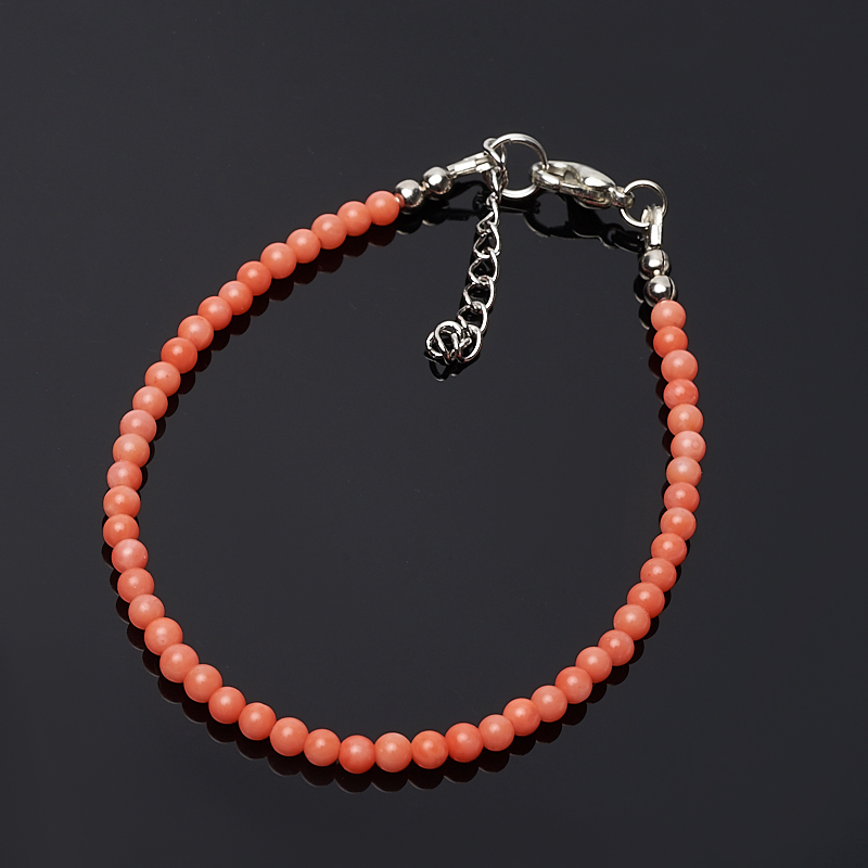 Браслет коралл оранжевый 3 мм 16-19 cм (биж. сплав) браслет коралл оранжевый 6 мм 16 19 см биж сплав