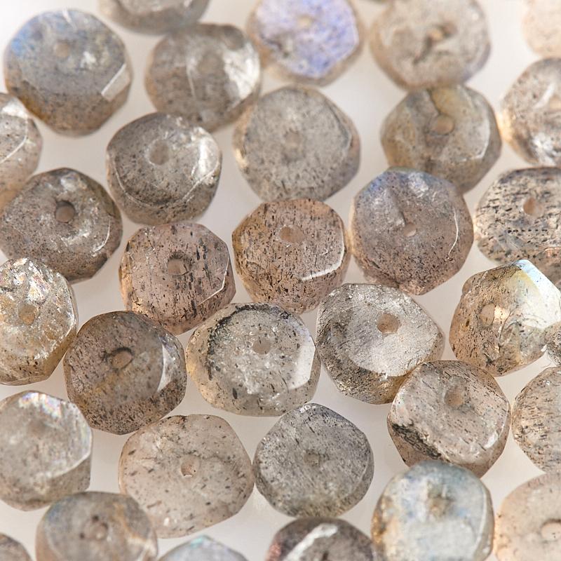 Бусина лабрадор Мадагаскар сплюснутый шар 5,5 мм огранка (1 шт)