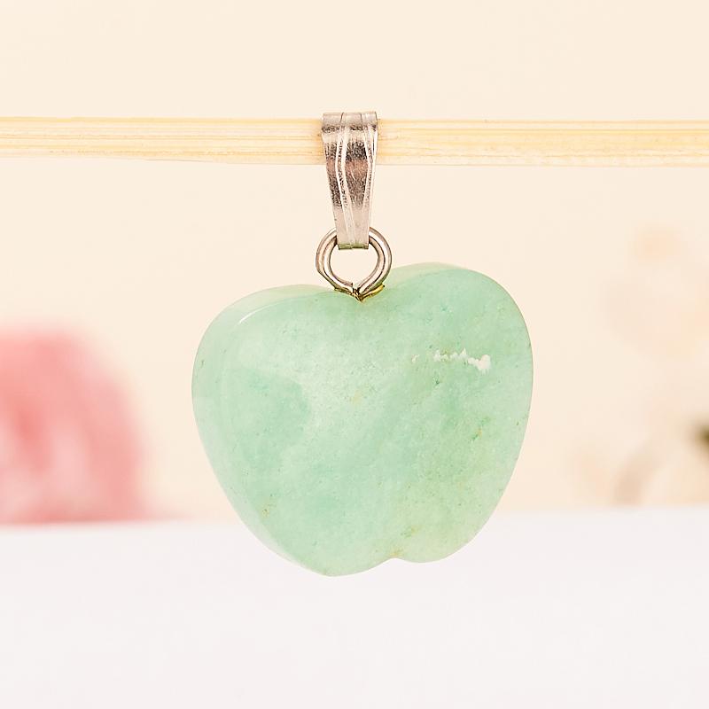 Кулон яблочко авантюрин зеленый светлый  2 см