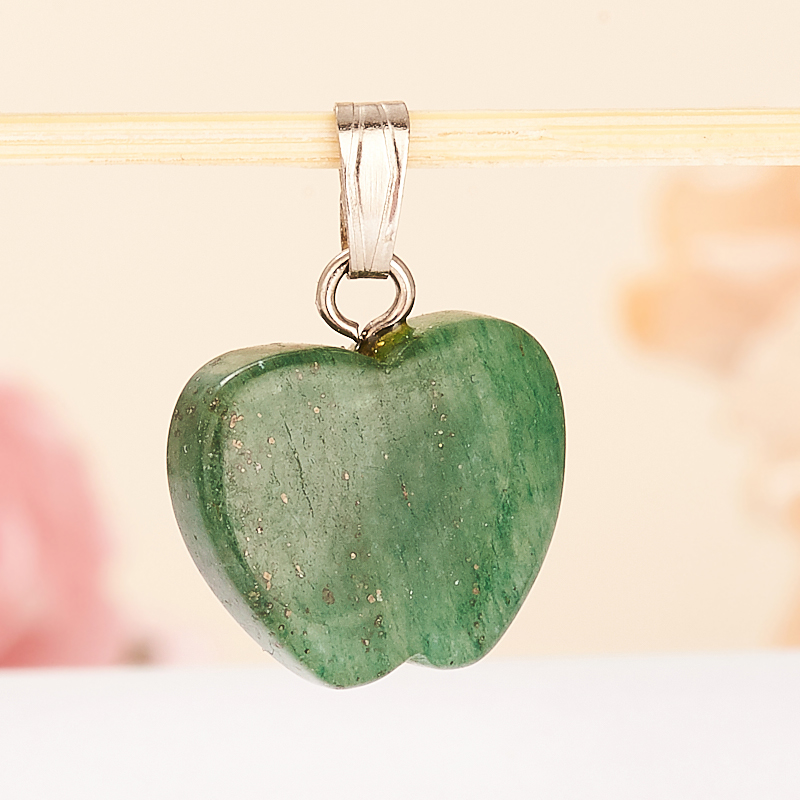 Кулон яблочко авантюрин зеленый темный  1,5 см